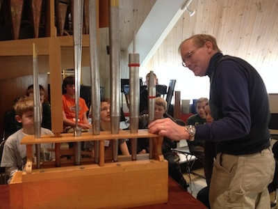 Jeff Daehn showing organ pipes